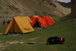 The campsite before Rumbak with tents pitched in