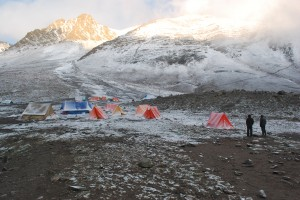 Base camp covered with snow