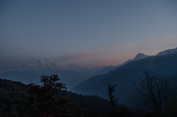 The early morning view towards Poon Hill