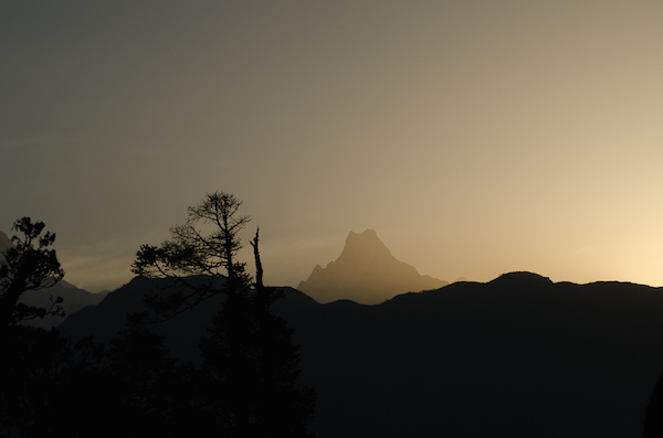 Silhouette of Machhapuchhre peak (Fish Tailed Mountain)