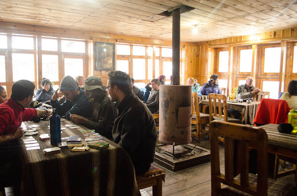 Dining hall at the lodge in Manang