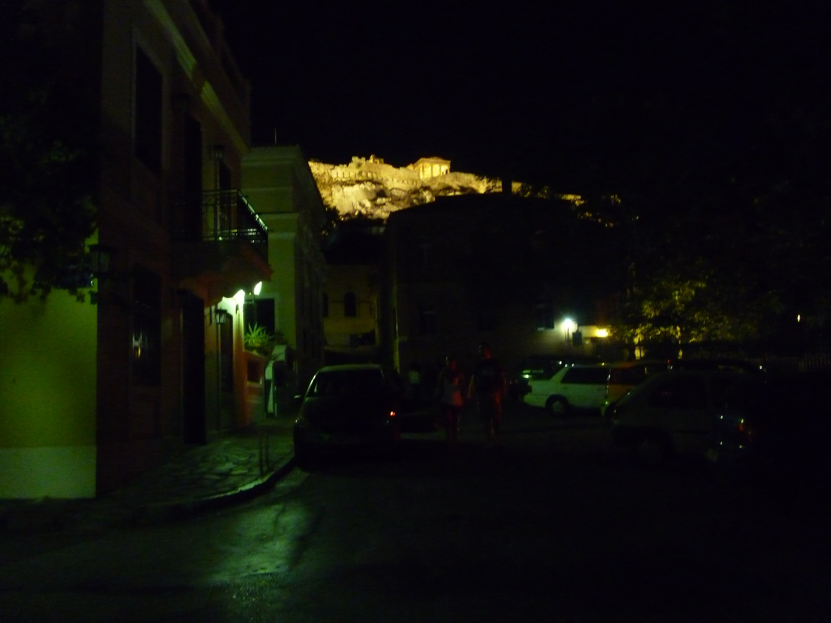 Parthenon lit up in the night