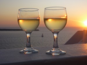 Wine and sunset recommended in Santorini