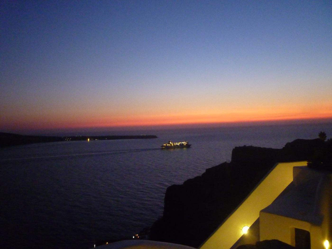 Speeding cruise ship  in Santorini