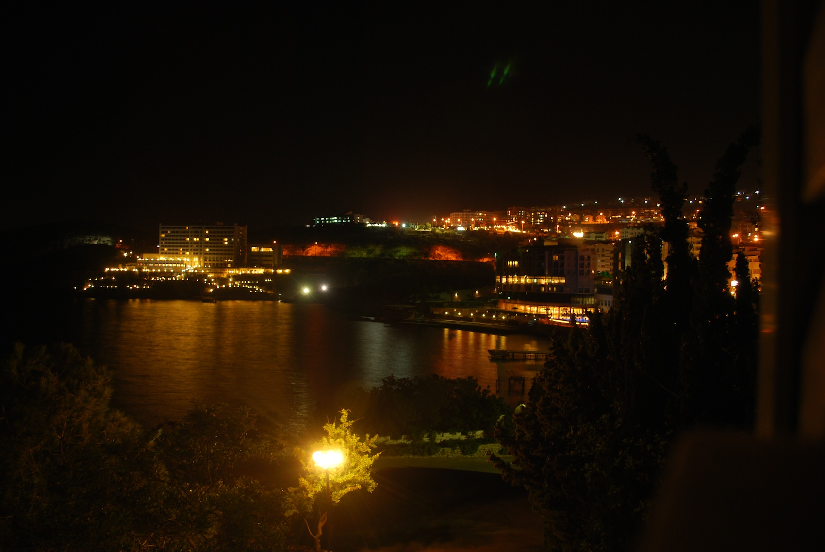 View in the night of the Aegean Sea